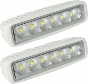 LEANINGTECH White Spreader light-emitting diode Deck & Marine Lights (2 Pack) Best 12V Bowfishing Boat Flood Lights for Muddy watercourse