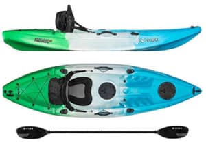If looks are anything to go by, then this model would ultimately bag the title of the best fishing kayak under 600.Straddling a length of 9 feet and weighing in at just above 46 pounds, this unit is a small bundle of joy you can't regret owning.It comes with two excellent paddles that are specially designed to deliver incredible torque with every attempt. We like the fact that each paddle is well secured. The kayak comes with some convenient handles on the sides where you can place the paddles and rest assured of finding them intact. Where are you heading out on a fishing mission alone? This unit has got more than enough space for you and all your personal effects. Unlike other kayaks that offer limited sitting space, this one comes with a deluxe seat. If you have ever been out there fishing for long hours, the chances are that you have an idea of how tiring it can get to sit on a kayak. The good thing with this kayak is that its seat comes complete with a back-rest. It's like a small office – and sure enough, you will not wake up the next day with back pain after fishing on this unit the entire weekend. In addition to all that, you also get some four easy-grip handles to make the job of transporting the whole kayak a lot easier.